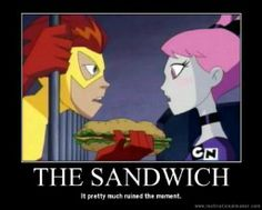 The sandwich totally ruined the moment