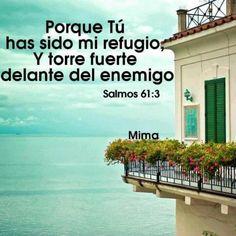 Salmos 61:3 Porque tú has sido mi refugio, Y torre fuerte delante del enemigo. ♔
