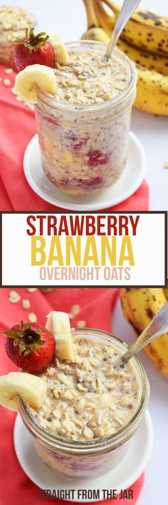 Whip up a these Strawberry Banana Overnight Oats before bed for a healthy, filling breakfast that you can eat straight from the jar. Kid-friendly, vegan, and can even be made gluten-free!