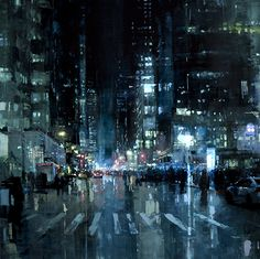 Manhattan Nights by Jeremy Mann oil on panel 48 x 48 inches