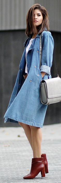 With its easygoing vibe, a denim trench is chic and totally timeless.