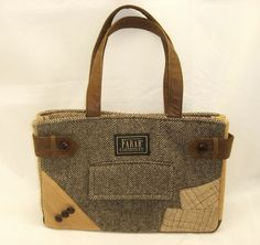 Recycled wool suit coat purse.
