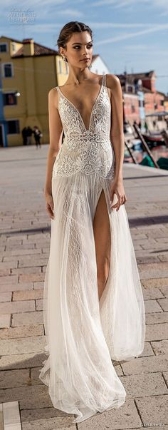 gali karten 2018 bridal sleeveless deep v neck heavily embellished bodice high slit skirt romantic sexy soft a line wedding dress open scoop back sweep train (1) lv