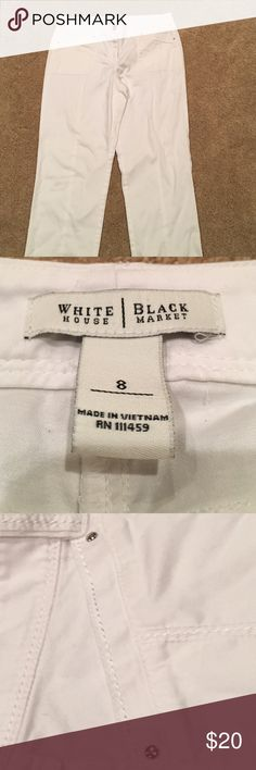 White House Black Market White Capri Pants, Size 8 White Capri Pants, size 8, Excellent condition!! White House Black Market Pants Capris