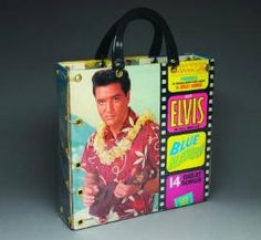 tote bag made from record album covers