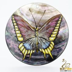 Hand Painted Butterfly Natural Black Lip Shell Pendants #ZL #Pendant
