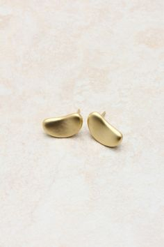 matte gold little bean earrings