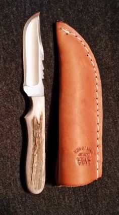 #2-3FE 2-3FE   ANZA 2-3FE Fixed Blade Knife  This Anza handmade fixed blade knife is made from the finest high carbon steel Bastard file with a full elk horn handle, full tang for strength and durability.  Anza knives are handmade and no two are the same.  Year Made:  2015  Dimensions:  Overall length:  6 in. Blade: 2 3/4 in.