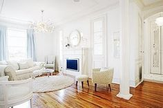 beautiful use of area rug on hardwood from vintage pretty: Shabby Chic Interior Design