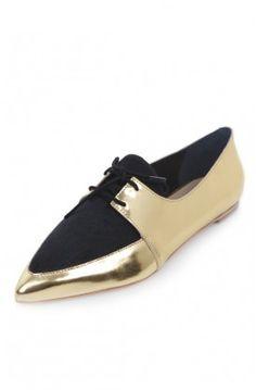 Loeffler Randall gold and black Beatriz Flat $295