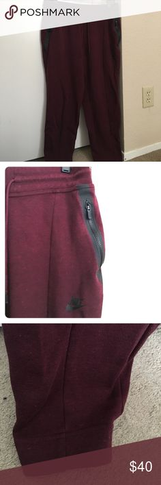 Nike Burgundy Tech Fleece Pants Nike burgundy tech fleece sweatpants/joggers with cuffed bottoms and working zippers. Please check Nike sizing on their website for accurate measurements. Nike Pants