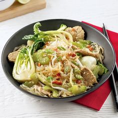 Nouilles Singapour au porc - 5 ingredients 15 minutes 15 Minute Meals, Mets, Japchae, Cabbage, Spaghetti, Pasta, Vegetables, Ethnic Recipes, Discovery