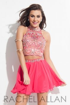 Two-piece chiffon skirt with heavily beaded bodice. Order today by calling Everything for Pageants at 1-815-782-8877 and ask for our current promotions.