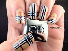 Burberry nails with striping tape