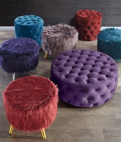 Now Trending: jewel tones bring an air of sophistication and extravagance. Set a dramatic stage starring our new fiery garnet, amethyst and sapphire ottomans for cozy decadence. More from this trend at the link in our bio! Living Room Sofa Design, Living Room Designs, Living Room Decor, Bedroom Decor, Home Decor Furniture, Sofa Furniture, Furniture Design, Furniture Ideas, Diy Home Crafts