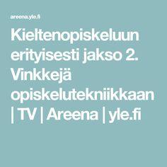 Vinkkejä opiskelutekniikkaan   TV   Areena   Opiskelutekniikkaa på svenska. Tekstitykset saa joko suomeksi, ruotsiksi tai kokonaan pois ryhmän tasosta riippuen. Erityisesti 1. jakso sopii kielten tunneille yläkouluun. Oppilaat ovat tykänneet kovasti.