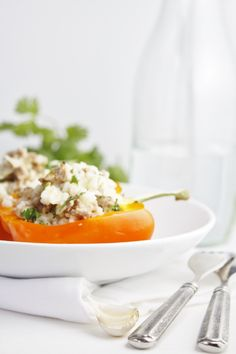 Risotto and Sausage Stuffed Bell Peppers