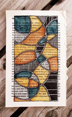 Orange and teal circles on a book page