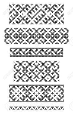 Wonderful Free of Charge Embroidery Patterns borders Thoughts Reihe von nahtlosen geometrischen Grenzen Stickereien Kreuz Lizenzfreie Bilder Border Embroidery, Folk Embroidery, Embroidery Patterns Free, Cross Stitch Embroidery, Cross Stitch Borders, Cross Stitching, Cross Stitch Patterns, Inkle Weaving, Inkle Loom