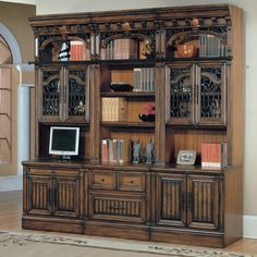 Parker House Barcelona 6 Piece Bookcase with Glass Doors - Antique Vintage Walnut | from hayneedle.com