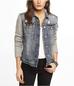 Knit Hooded Denim Jacket Wonder if I could make knit arms on a ...