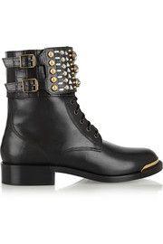 Swarovski crystal-embellished leather boots