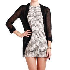 Black Sheer Cardigan... Aww y quiero ese vestidito también :3