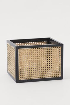 Rattan storage basket - Black/Rattan - Home All   H&M GB Rattan Basket, Wicker, Billy Bookcase Hack, Storage Baskets, Cute Storage Boxes, Storage Ideas, Built Ins, Montage, Storage Solutions