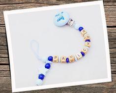 Schnullerkette Paulchen in den Farben babyblau/mittelblau