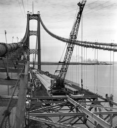 Mackinaw Bridge construction  May 1954 - November 1957.