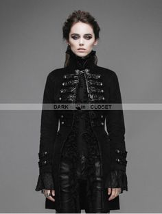 Devil Fashion Black Double-Breasted Gothic Palace Style Coat for Women