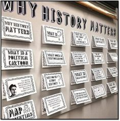 "Why History Matters Bulletin Board, Stations Activity, and Doodle Notes Interactive notebooks inform AND engage students! I use my ""Why History Matters"" interactive bulletin board in my middle school United States History classes! History Classroom Decorations, World History Classroom, History Teachers, Teaching History, History Education, Classroom Ideas, Classroom Door, Classroom Design, 7th Grade Social Studies"