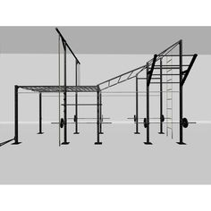 Features: - 20' length x 6' depth x 15' height - Monkey bar 10' through the cargo net, then go from 9' up to 15' through another 10' monkey bar incline  - 15' High Rope Climb - Battle Rope Station - Ring Muscle Up Station - 12 pull-up bar positions - 4 rack positions  Includes: - 4 sets of salmon ladder rungs + salmon ladder pole - 15' Climbing Rope - 30' Battle Rope with Anchor - 10' of cargo net monkey bar + 10' of inclining monkey bars  - 4 sets of J-cups  - 15' Climbing Ladder