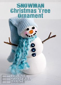 Snowman Christmas Tree Ornament - Come see how I made this adorable snowman Christmas tree ornament! You might be surprised how easy it is, and what I made it with! #Christmas, Christmas-crafts, Crayola-Model-Magic, Crayola-Model-Magic-crafts, handmade-Christmas-ornaments, handmade-Christmas-tree-ornaments, holiday-crafts, snowman-crafts, snowman-ornaments, #snowmen www.houseofjoyfulnoise.com