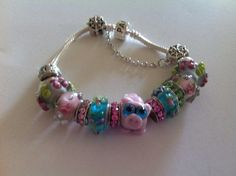 Cute Pink Pig Bracelet  Lampwork Glass Beads by InHogHeaven