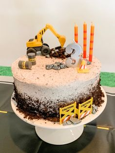 Digger Construction Party Digger Birthday Cake, 3rd Birthday Party For Boy, Digger Cake, Truck Birthday Cakes, Digger Party, Birthday Banners, Farm Birthday, Birthday Invitations, 2 Year Old Birthday Cake