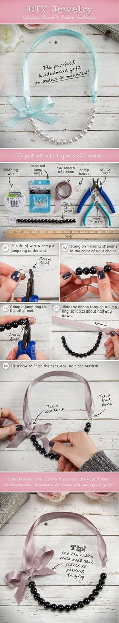 DIY Pearl and Ribbon Necklace diy crafts craft ideas easy crafts diy ideas…