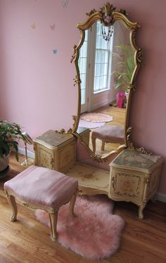1900 Paint decorated French style vanity~If you don't feel sexy getting dressed in front of this mirror....well, it's not gonna happen!