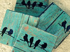 Rustic Coasters--Teal Wood Tile with Birds.set of 4 employee gift coworker gift Christmas gift wedding gift present USD) by Kitchcessories Arte Pallet, Pallet Art, Pallet Crafts, Wood Crafts, Rustic Coasters, Wooden Coasters Diy, Decoration Vitrine, Wood Pallets, Wood Art