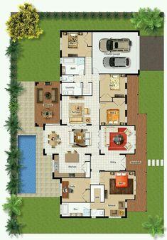 Casa de una planta de 4 cuartos con piscina