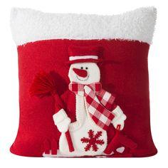 Červeno bílá dekorační povlak na polštářek s bílými sněhuláky