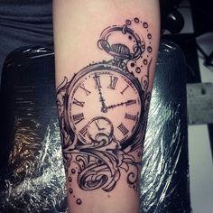Pocket watch tattoo by Inkku Escobar