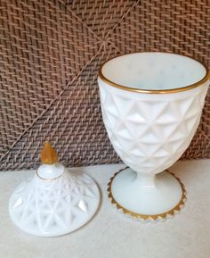 Vintage White Depression MILK GLASS Candy by AuntieLindasAttic