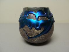 "ORIGINAL CHARLES LOTTON ART GLASS ELECTRIC BLUE ""LAVA"" VASE, SIGNED & DATED"