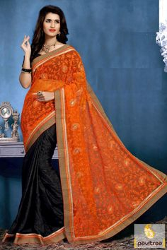 A new trendy and fashionable black orange georgette saree online shopping and get existing deal. A net saree is prettified with embroidery on half saree. #partywearsaree, #partysaree, #designerpartysaree, #embroiderysaree, #designersaree, #netpartywearsaree, #discountoffer, #pavitraafashion, #utsavfashion, #georgettepartysaree http://www.pavitraa.in/store/party-wear-saree/ callus:+91-7698234040