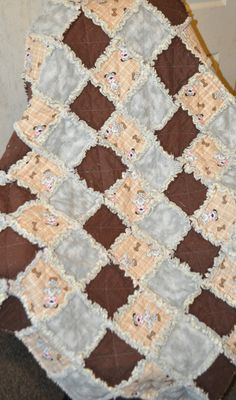 Puppy Dog Gray and Brown Baby Rag Quilt 40 X 40 by RichardQuilts, $45.00