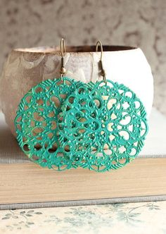 Filigree Earrings Teal Green Earrings Dangle