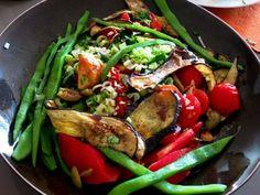 Salade van snijbonen, aubergine en geroosterde tomaten