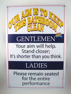 "KEEP THIS BATHROOM CLEAN TIN SIGN..... A crazy ""Bathroom"" notice that is hilariously funny. 8 1/4 x 11 1/2 tin sign that looks great in any bathroom. Entertain your guests and family. www.theonestopfunshop.com"