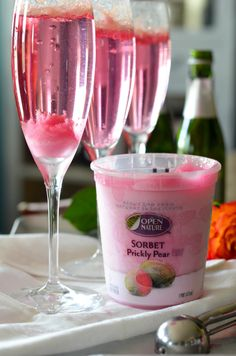 Win a $50 gift card from Safeway! Head on over to Karista's Kitchen for details... Open Nature Prickly Pear Sorbet Champagne Cocktail // Karista's Kitchen